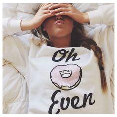 Oh Donut Even White Crewneck - Fresh-tops.com