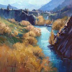 "Daily Paintworks - ""Kawarau Gorge"" - Original Fine Art for Sale - © Richard Robinson"
