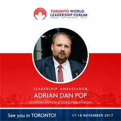 Toronto World Leadership Forum - join us in Canada!