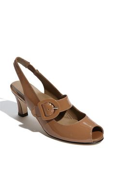 """Anyi Lu 'Tulip' Slingback -- [Handcrafted Italian pump cut from gleaming patent leather is fashioned with a playful peep toe and adjustable mary jane strap. Soft leather lining combines with comfortable arch support for all-day wear. Wrapped heel. Approx. heel height: 2 1/2"""".  Leather upper & lining/leather sole with rubber inset.]~[By Designer Anyi Lu]~[Made in Italy. Salon Shoes]'h4d'"""