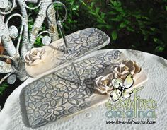 Mississippi Pottery Handbuilt Lace Tiered Magnolia plates