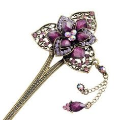 """Purple Rhinestone 3-Petal Flower Antique Brass Finish Hair Stick with Tassels by Crystalmood [Hair Jewelry]. $20.40. Although the hair stick is made of alloy (metal), it could be bent or even broken under force. It is recommended to use for making not-so-tight up-do's or simply use as decoration.. All measurements are approximate and are provided for informational purposes only.. Total length: 6.5""""; head part: 2.2"""" by 2"""". Tassels: about 2.5"""" long.. Fabulous and chic, t..."""