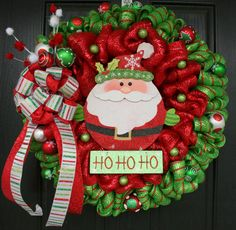 Ho Ho Ho Here Comes Santa Deco Mesh Christmas Wreath by WreathChic, $175.99
