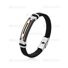 negro brazalete de goma en acero para hombre-SSBTG1204710