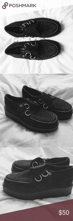 """Underground creepers Brand new shoes. These black suede T.U.K. Mondo Sole Viva Creepers has more flexible soles with 1 7/8"""". These round toe creepers have a black woven interlace, and silver metal D-rings. T.U.K Shoes Platforms"""