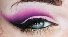 Pinks and purples with gold glitter liner.