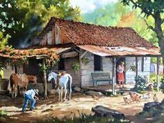casa Art Village, House Landscape, Landscape Art, Beautiful Paintings, Beautiful Landscapes, Case Creole, Puerto Rico Pictures, Puerto Rico History, Caribbean Art