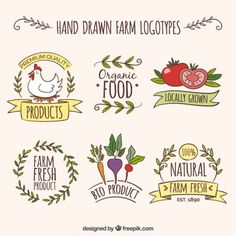 Hand drawn farm logotypes with organic products Free Vector