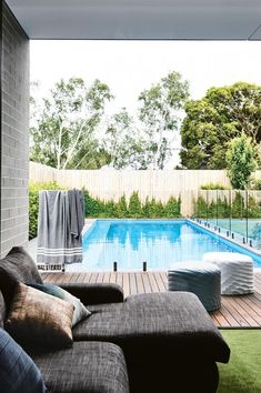 Swimming Pools - Inspired Space - The Builder's Wife Backyard Pool Designs, Swimming Pools Backyard, Swimming Pool Designs, Pool Decks, Backyard Landscaping, Landscaping Ideas, Pool And Deck Ideas, Lap Pools, Indoor Pools