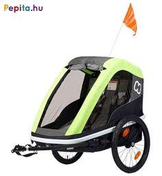 Két gyermek szállítása esetén a könnyű, mégis erős Avenida kerékpár utánfutó biztosítja a tökéletes védelmet és a sima utazást! Könnyű elülső nyitás szíjjal és akasztó horoggal.    Jellemzői:  - Alumínium védőkeret  - Kerékpár vontató rúd  - Mosható üléspárna  - Tágas tárolórész  - Extra hosszú árnyékoló  - Állítható, 5 pontos biztonsági öv  - Rögzítő fék  - Első és hátsó reflektorok  - Fényvisszaverő csíkok  - Ergonomikus, állítható fogantyú  - Kompakt, egyszerűen összecsukható… Bmx, Single Trailer, Foldable Bicycle, Baby Car Seats, Cover Gray, Baby Strollers, Twins, Children, Frame