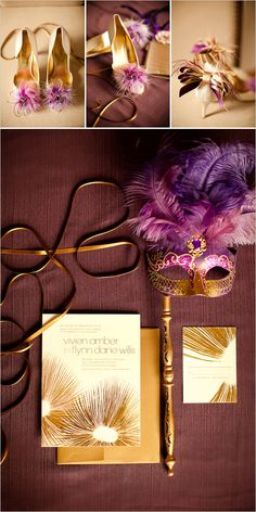 Purple And Gold Wedd
