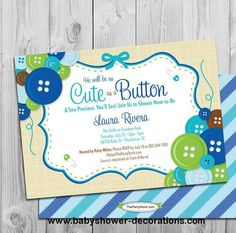 Cute as a Button Baby Shower Invitation | printable file | blue boy baby shower invite | girl invite, decorations and games available - http://www.babyshower-decorations.com/cute-as-a-button-baby-shower-invitation-printable-file-blue-boy-baby-shower-invite-girl-invite-decorations-and-games-available.html