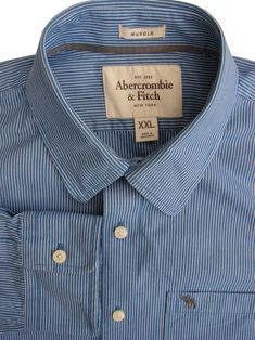 e58e2a9fc ABERCROMBIE & FITCH Shirt Mens 17.5 XXL Blue - White Stripes MUSCLE - £34.99