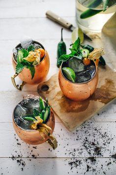 Frida's Mule Cocktail: Jalapeño infused mezcal, ginger beer, lime juice Mezcal Cocktails, Summer Cocktails, Cocktail Drinks, Cocktail Recipes, Margarita Recipes, Ginger Ale, Fancy Drinks, Happy Hour, Happy Weekend