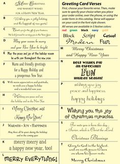 Great ideas for when you're stuck on what to write in Christmas cards!