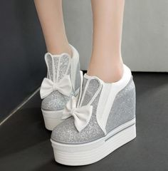 Women's Girls Platform Wedge Sequins Trainers Shoes Casual Muffin Sneakers Shoes
