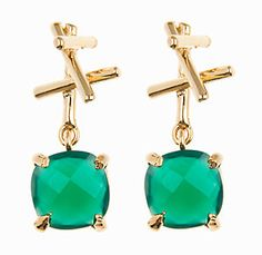 #HazelsSmyth. #SticksCollection. Sticks with square drop. Gold. Green Agate.