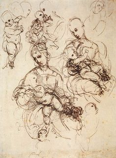 """Raphael, """"Study for the Madonna and Child"""". An example of gestural line."""