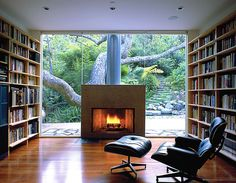 Is it the fireplace or the wall of glass that catches your eye?