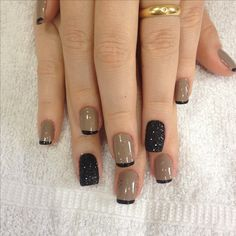 59 New ideas for black french manicure designs makeup Manicure Colors, Nail Manicure, Nail Colors, Gel Nails, Chic Nails, Stylish Nails, Trendy Nails, Nail Designer, Nail Polish Art