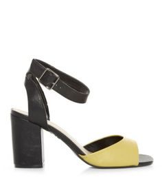 Black and Yellow Contrast Ankle Strap Block Heel Sandals
