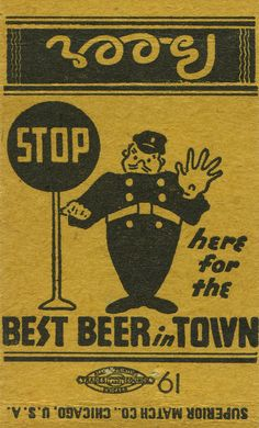"""""""Stop Here for the Best Beer"""": vintage Superior Match Co. matchbox cover"""
