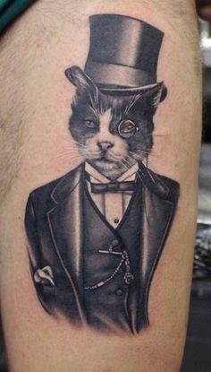 Gentleman cat tattoo