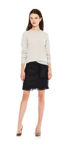 Cashmere Crew Neck Sweater Fringe Skirt 1ab4732d40ef8