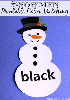 Free Printable Color Matching Snowmen - From ABCs to ACTs