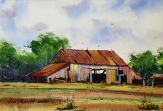 """Decrepit - 7.5x11"""" original watercolor painting by Jim Oberst - $100 incl. U.S. shipping. Watercolor Barns, Watercolor Architecture, Watercolor Landscape, Landscape Paintings, Watercolor Paintings, Landscapes, Wood Siding, Old Wood, Old Things"""