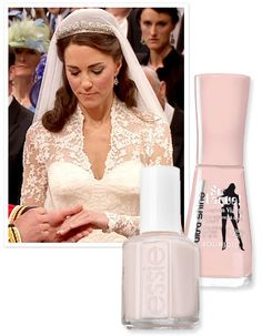 """InStyle Magazine: """"Kate Middleton's manicurist Marina Sandoval from the Jo Hansford salon spoke ... to reveal the exact shades of polish she blended for the bride's wedding day look: Bourjois So Laque Ultra Shine Nail Enamel in Rose Lounge, a barely there pink sold only in the UK, and Essie Allure ($8, essie.com), a sheer beige tone.""""  ... I love blending polish!"""