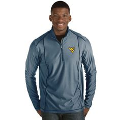 West Virginia Mountaineers Antigua Tempo 1/2-Zip Desert Dry Pullover Jacket - Navy