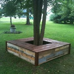 Check out this project on RYOBI Nation - We needed something to spruce up a tree outside our bedroom window. We decided to reclaim pallets and make a bench for the tree.