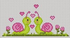 me wp-content uploads 2014 07 caracois-ponto-cruz. Cross Stitch For Kids, Cross Stitch Love, Cross Stitch Borders, Cross Stitch Animals, Cross Stitch Charts, Cross Stitch Designs, Cross Stitching, Cross Stitch Embroidery, Embroidery Patterns