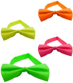 Neon Blacklight Reactive Solid Satin Bow Tie