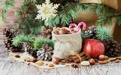 Wallpaper cinnamon, branches, spices, bag, needles, burlap, new year, nuts, Apple, Christmas, bumps, candy, holiday