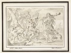 Hercule and Omphale? anonymous drawing XVIIIth century,Louvre