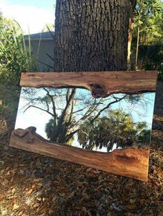 Live Edge Wood Slab River Mirror River Mirror, Live Edge Mirror- Furniture, mirror, or work of art. Build to last, and beautiful as you can see! The glass mirror is a Live Edge Furniture, Mirrored Furniture, Log Furniture, Wood Projects, Woodworking Projects, New Swedish Design, Live Edge Wood, Wood Mirror, Mirror Mirror