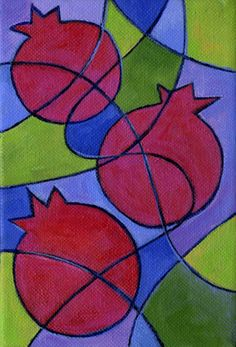 """Pomegranate Trio   4"""" x 6"""" Acrylics on gallery wrapped canva…   Laura Bolter   Flickr"""
