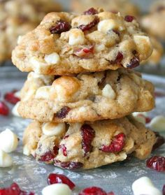 Oatmeal Cranberry White Chocolate Macadamia Chip Cookies are loaded with dried cranberries, crunchy nuts and sweet white chocolate chips.