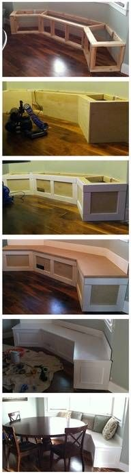 DIY Built-in Banquet....I would love to add storage for things like Holiday dishes and things that are not used all the time.