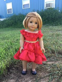 """Coral Hi-Low Hem Dress and Headband fits 18/"""" Dolls Such As American Girl Doll"""