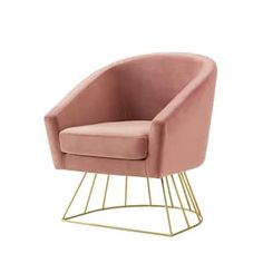 Inspired Home Sabrina Velvet Accent Chair with Metal Base (Option: blush/gold)