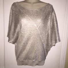 Gorgeous Holiday Sweater Top Sz S Great condition tiny snap barely noticeable in last pic.   More of an almond color NO TRADES Matty M Tops Blouses