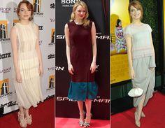 Versátil, Emma Stone também gosta de vestidos de comprimento mídi e modelagem soltinha, que lembra bastante as peças usadas nos anos 20. Retrô!