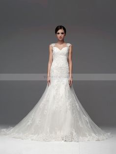 Allover Lace Wedding Dress with Cap Sleeves