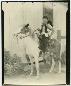 1950s Young COWBOY with Chaps on PONY souvenir by Snapatorium