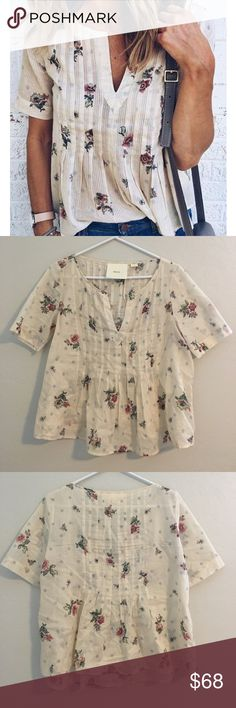 Anthropologie floral and polka dot top, 4 Anthropologie Maeve floral and polka dot top, size 4. Excellent used condition. 100% cotton. Anthropologie Tops