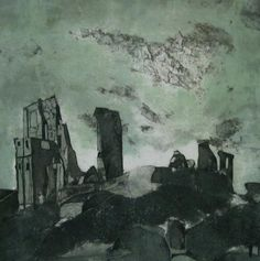 """Castle in the Clouds: collagraph, 34cm x 34cm by Sarah Ross-Thompson UK"