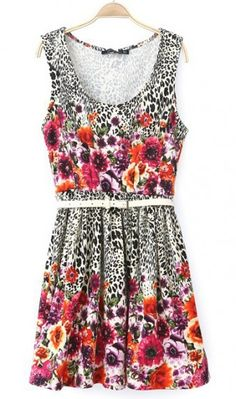 Leopard floral print dress. floral dress, style it as u want